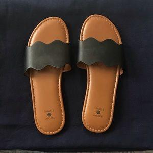 Scalloped Slide Sandals NWOT